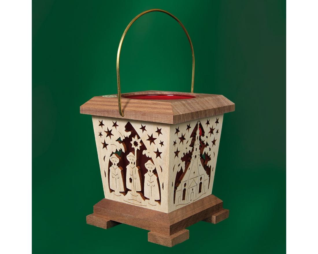 laterne teelicht amerikanischer nussbaum rot seiffen. Black Bedroom Furniture Sets. Home Design Ideas