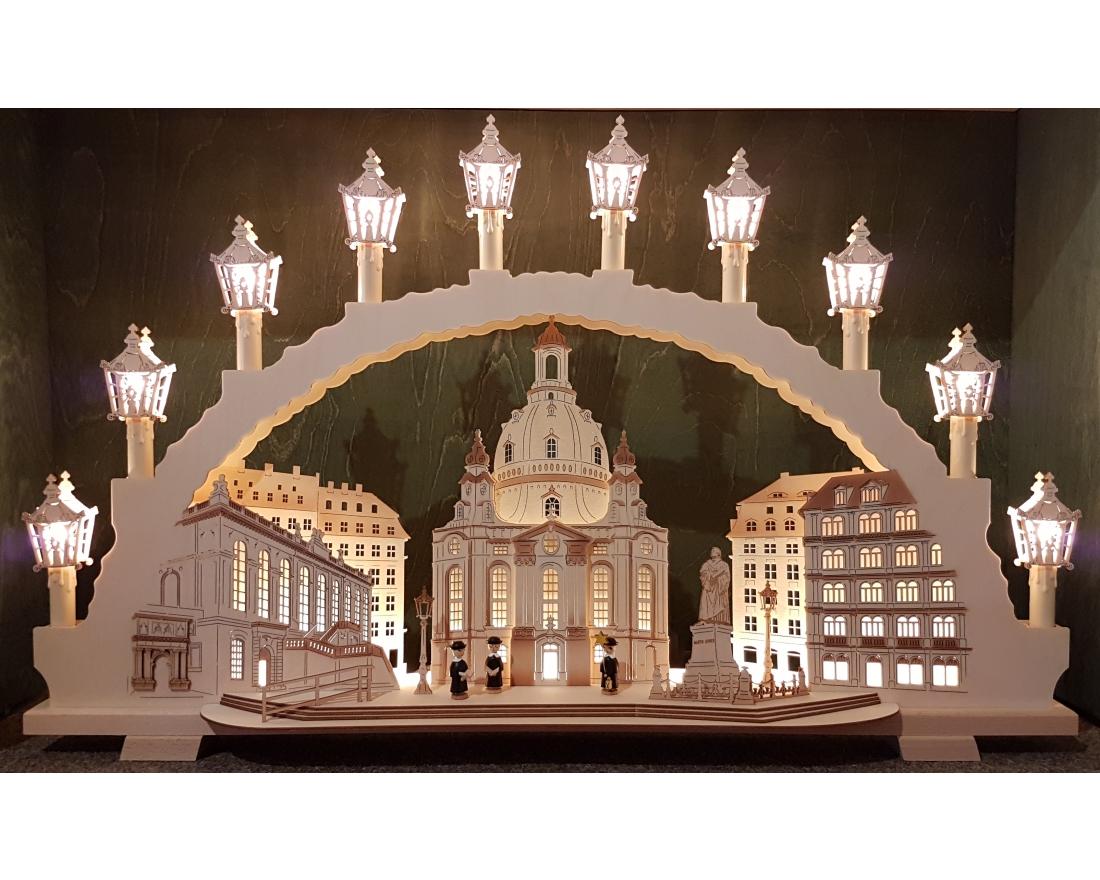 schwibbogen mit led vorbeleuchtung frauenkirche 70 cm tietze erzgebirgische. Black Bedroom Furniture Sets. Home Design Ideas