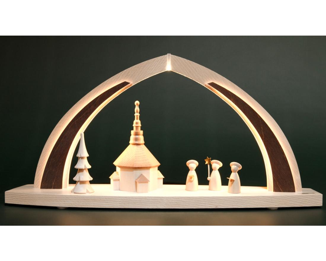 modern wood led bogen klein seiffener kirche tietze erzgebirgische schwibb gen. Black Bedroom Furniture Sets. Home Design Ideas