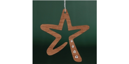 Stern modern wood Jatoba MADE WITH SWAROVSKI ELEMENTS 3Stk